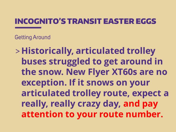 Historically, articulated trolley buses struggled to get around in the snow. New Flyer XT60s are no exception. If it snows on your articulated trolley route, expect a really, really crazy day, and pay attention to your route number.
